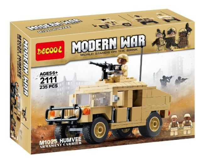 Decool 2111 Military Series -M1025 Armored Humvees.235 Pcs Legoings 3D DIY Figures Toys For Children Educational Building Blocks