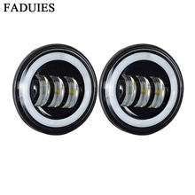 """FADUIES 1 Pair Black 4 1/2"""" 4.5 inch Motorcycle led fog light with White halo Ring For harley motorcycle parts"""