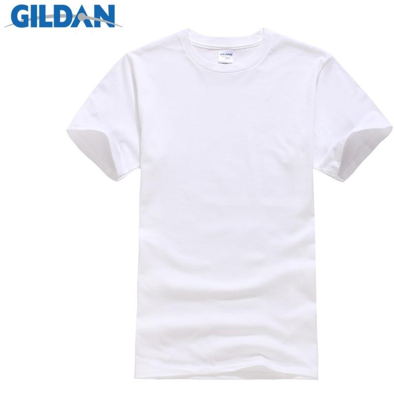 GILDAN Summer Men T-shirts Solid Color Slim Fit Short Sleeve T Shirt Mens New O-neck Tops Basic TShirts Brand Clothing Plus Size