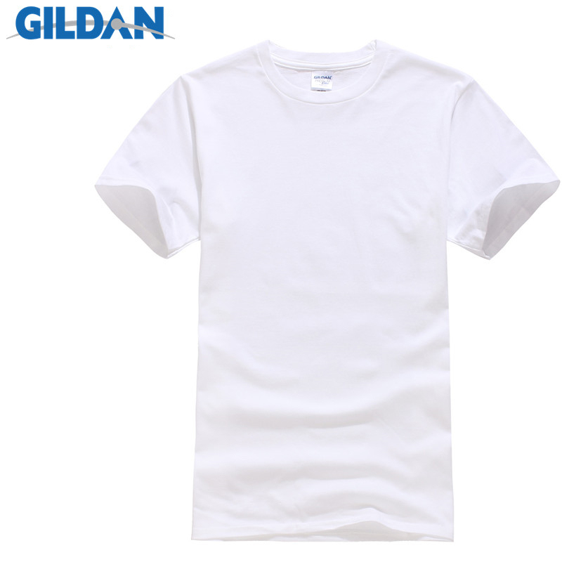 GILDAN Summer Men   T  -  shirts   Solid Color Slim Fit Short Sleeve   T     Shirt   Mens New O-neck Tops Basic TShirts Brand Clothing Plus Size