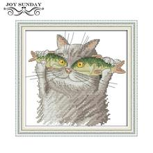 Joy Sunday Cross Stitch Cat I love Fish 11ct 14ct DIY Handwork Counted Printed Crossstitch kit DMC Embroidery Needlework Set