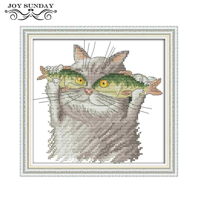 Joy Sunday вышивка крестиком Кот I love Fish 11ct 14ct DIY Ручная работа Счетный напечатанный Набор для вышивки крестиком DMC набор для шитья
