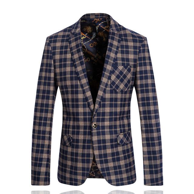 Homens de Lã Marca Terno de Negócio Jaquetas Hombre Xadrez Slim Fit Blazer Ocasional Terno Moda Outono Inverno Terno Masculino SL-X028