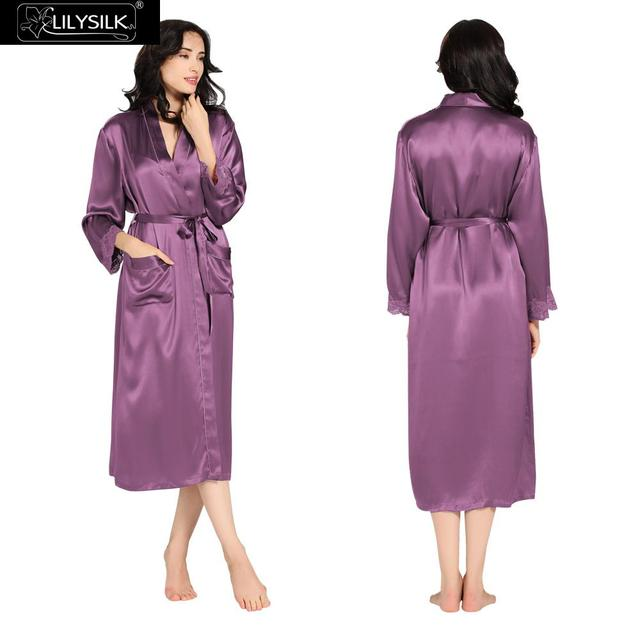 6c2b64d28b Lilysilk Silk Long Bathrobe Robes Female Home Clothes Women Gowns 22 momme  Violet Lace Cuff for