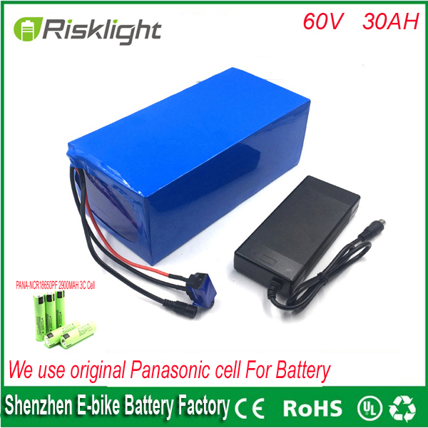Ebike Battery 60v 30Ah 3000W Electric Bike Battery with Charger and Lithium Battery 60V 3000W Battery Pack For Panasonic cell lithium ion ebike battery pack 60v 15ah 1000w 1500w frog stype battery with charger and bms for e bike for samsung cell