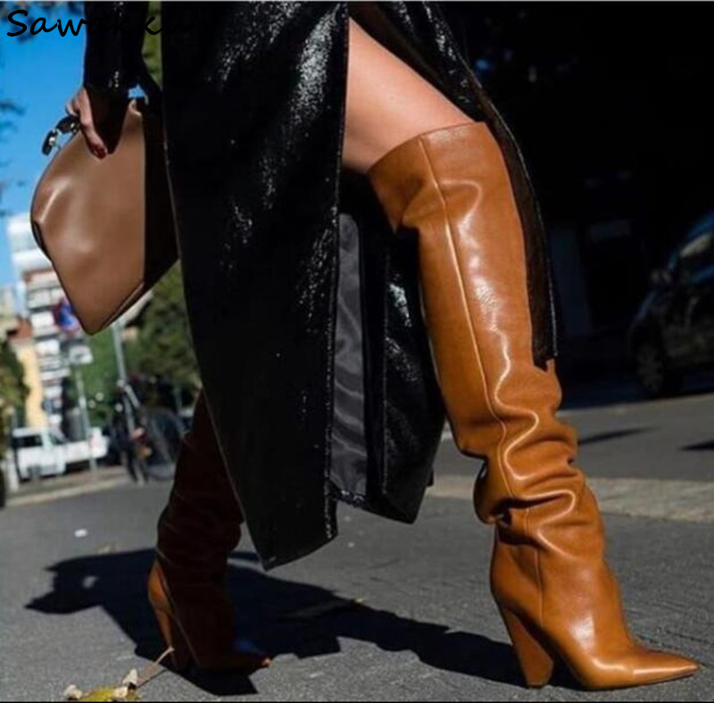 Top Quality Real Leather Autumn Winter Shoes Woman Sexy Pointy Toe Strange Heels Knee High Boots Runway Style Zapatos De Mujer