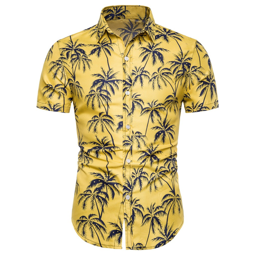 Man Printed Shirts High Quality 2019 Men Summer Hawaiian Linen Short Sleeve  Basic Shirt Fit Slim Yellow Printed Shirt