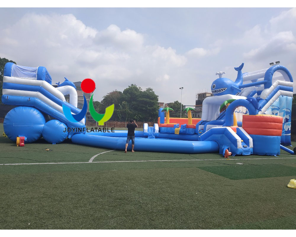 2018 Cheap inflatable kids slide with waterproof and fire resistant and swimming pool,giant children playground water slides
