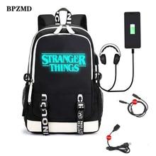 Çok fonksiyonlu USB şarj gençler için erkek öğrenci kız okul çantaları Stranger şeyler sırt çantası seyahat aydınlık çanta dizüstü bilgisayar paketi