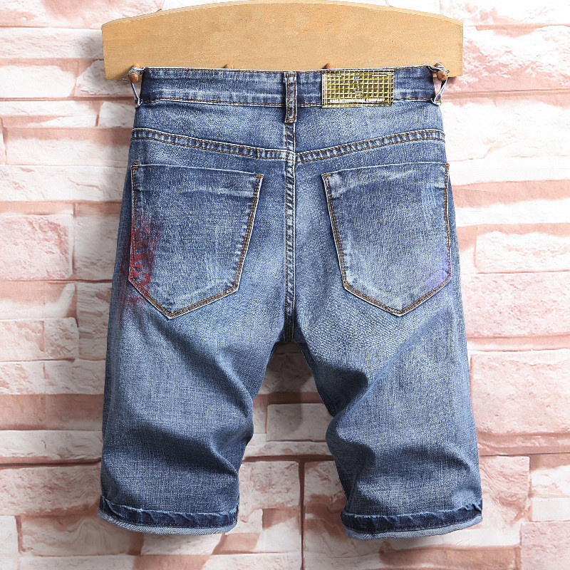 MORUANCLE New Fashion Mens Ripped Painted Short Jeans Hi Street Distressed Printed Denim Shorts For Male Straight Jean Shorts