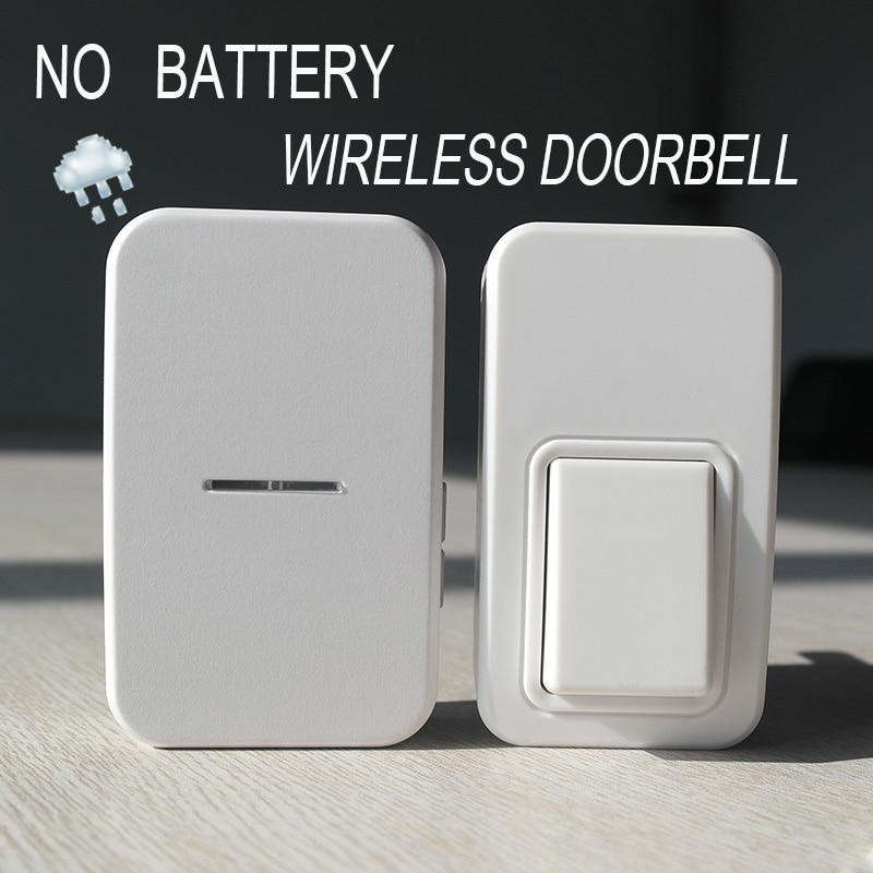 ФОТО Plug-in Wireless Door Bell ,Waterproof Self-powered Push Button Long working range smart home doorbell wireless