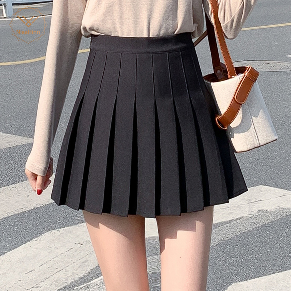 Women Plus Size XS-2XL Shorts Skirts Female 2019 Summer A Line Sun School High Waist Pleated Skirt Female Korean Elegant Skirt