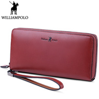 WilliamPOLO Genuine Leather Clutch Wallet Women Fashion Hand Strap Clutches Purse For Female Burgundy Design Zipper Phone Bag