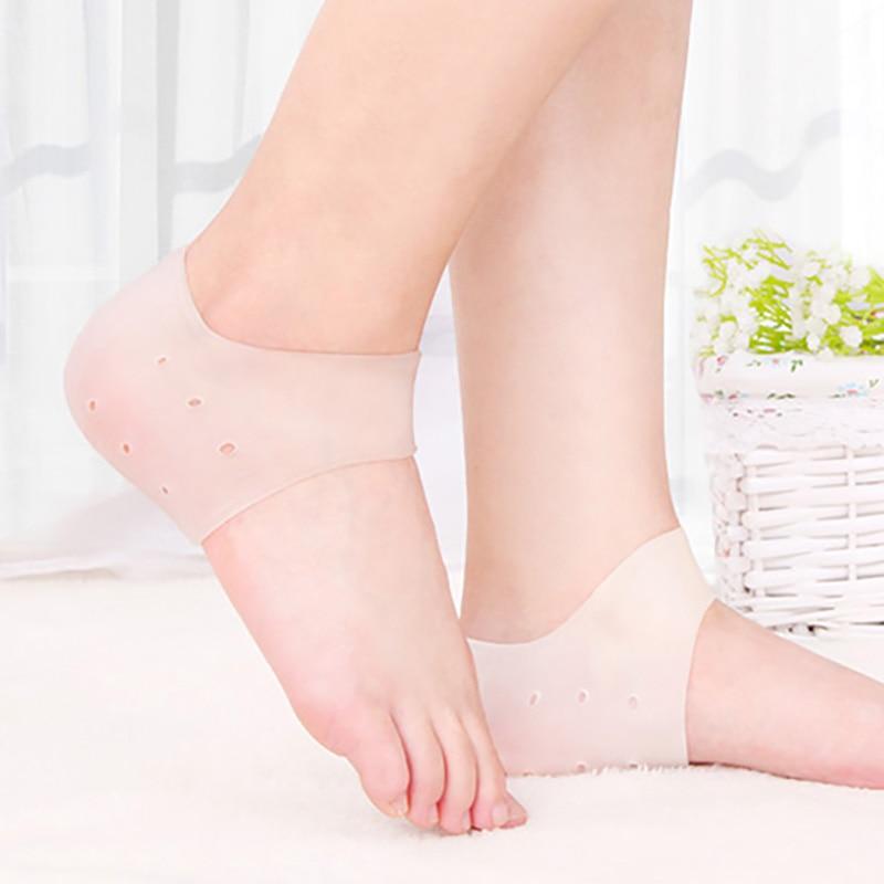 USHINE Silicone Insole Socks Foot Care Protector Cracked Moisturizing Back Heel Skin Orthopedic Insoles Woman Man