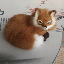 new simulation fox toy lifelike beautiful yellow fox doll gift about 16×11.5x13cm