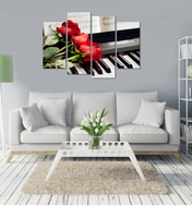 Red Rose On Piano Modern 4 Panels Floral Printed Canvas Art Prints Flowers Music Wall Pictures