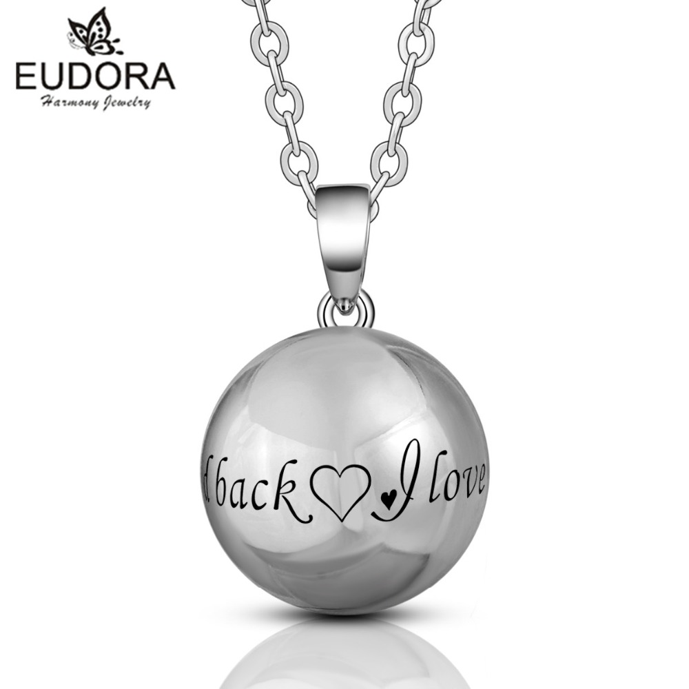 Eudora Harmony Round Sliver Mexican Bola Pendant Sweater Chain Necklace Nice Musical Sounds Bola Balls Jewelry for Mother Gift