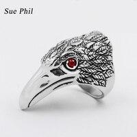 Sue Phil Nueva Marca Diseño Rojo Ojo de Águila Cabeza de Titanio anillo de Los Hombres Dropship Hipérbole Animal 316L Stainess Acero Anillos Retro joyería