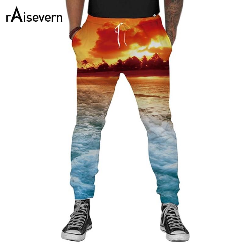 Raisevern Moda Pantaloni Tasca Figura Intera Spazio Tramonto 3D HD Stampa Uomini Donne HIP HOP Jogging Pants Pantaloni Streetwear Dropship