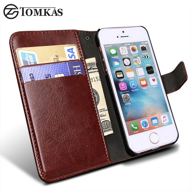 7230dc4bb16 Funda de cuero tipo billetera para Apple iPhone 5S 5 SE funda de lujo con  tapa