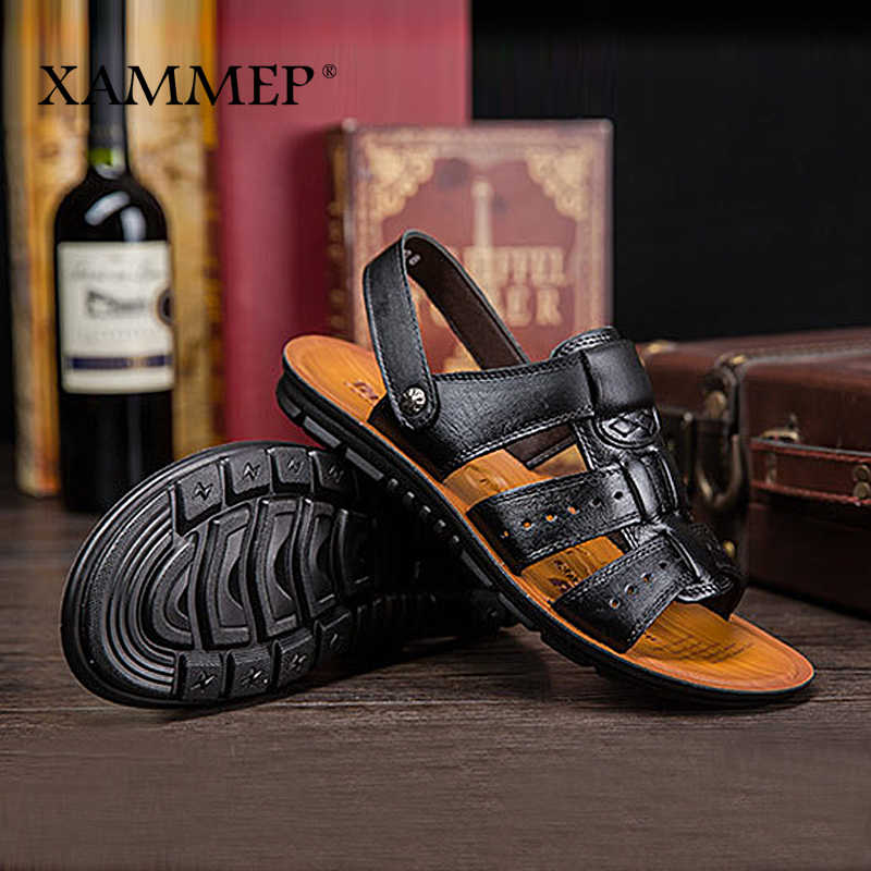 Xammep mężczyźni sandały oryginalne skórzane męskie buty plażowe marki mężczyźni obuwie kapcie męskie trampki letnie buty klapki