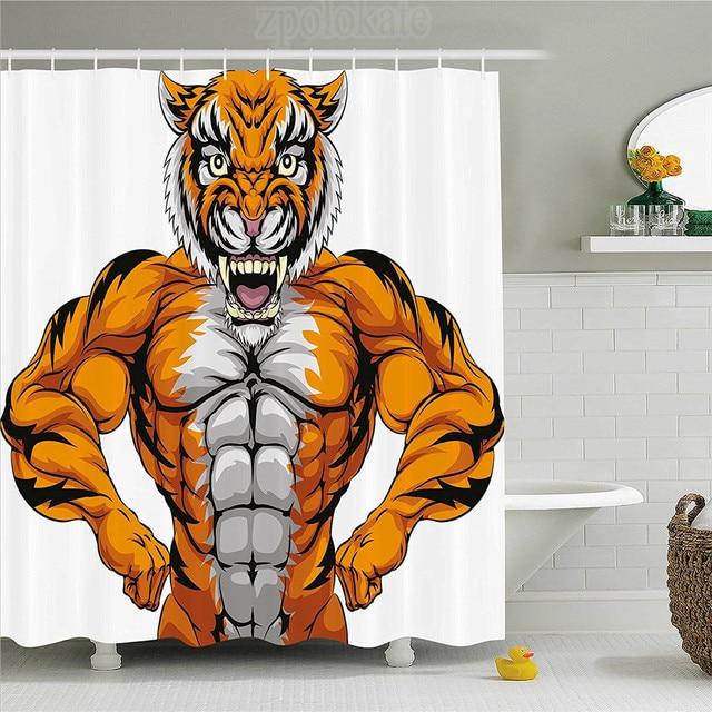 Animal Shower Curtain Wildlife Safari African Animal Bodybuilder - African safari bathroom decor