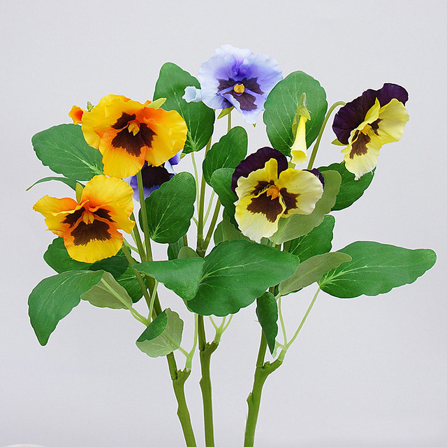 New 3 Branches Pansy Artificial Flowers Plants Home Office Wedding