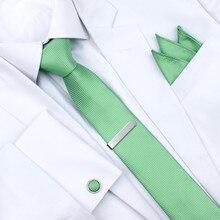 HAWSON Men's Tie Light Green Necktie Set with Pocket Square
