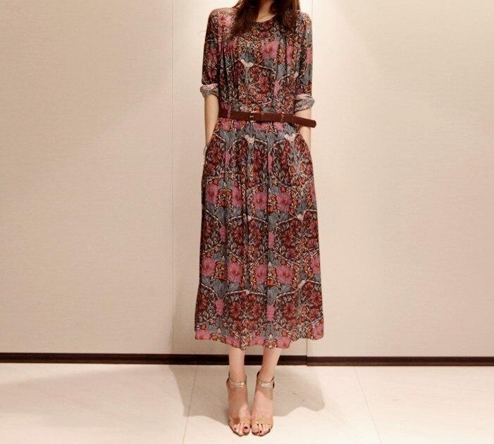 Платье из шифона миди с длинным рукавом