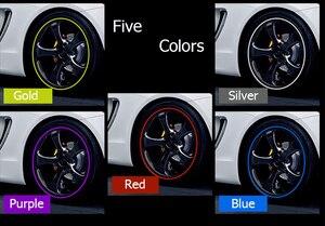Image 5 - Adesivos coloridos para pneu de carro, 8m, para veículo, roda, jantes de borda, decoração, linha de borracha, moldável proteção de proteção