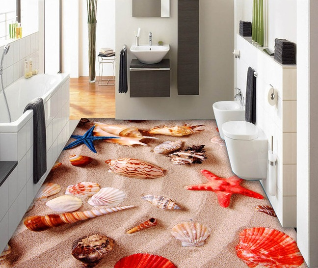 3 d pvc flooring custom wall wticker 3d bathroom flooring 3 d conch shells beach sea star painting photo wallpaper for walls 3d фигурки игрушки schleich аксессуары для эльфов мечты