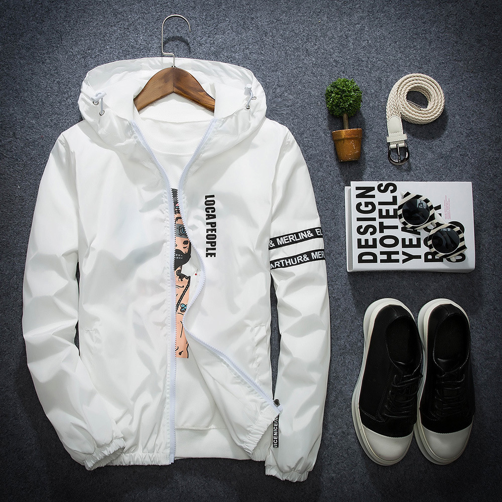 Men Jacket New Fashion Slim Fit Young Men Hooded Jacket and Coats Thin Jackets Wind Breaker Casual Windbreaker in Jackets from Men 39 s Clothing