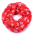 Hot Sale Fashion Women Knit Jersey Cotton Red White Animal little Elephant Infinity Scarf, Circle Scarves free shipping