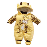 Unisex Winter Baby Clothes Long Sleeve Hooded Baby Romper One Piece Covered Button Infant Baby Jumpsuit