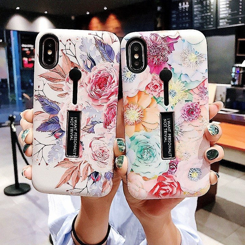For iPhone XS MAX <font><b>Case</b></font> XR 7 8 6 Plus Xs Fashion Relief Flower <font><b>Loop</b></font> <font><b>Ring</b></font> <font><b>Phone</b></font> <font><b>Case</b></font> Flamigo Slim Holder Stand Soft Silicone Cover image