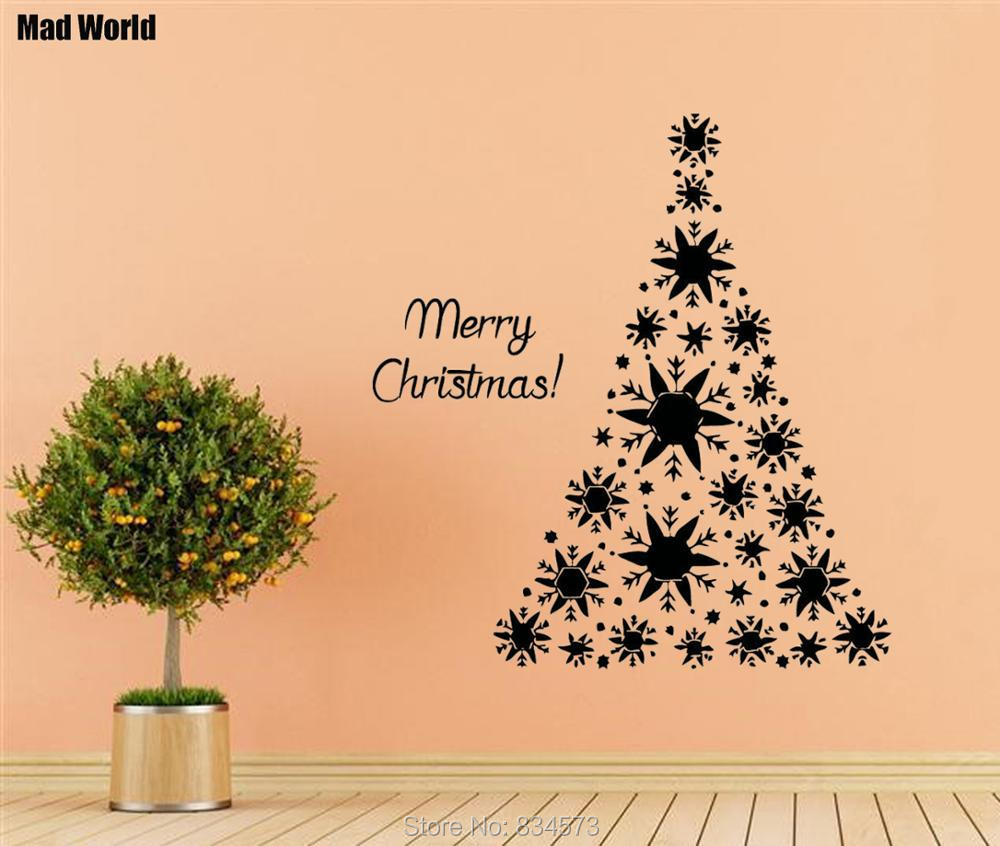 Mad World Merry Christmas Christmas Tree Wall Art Stickers Wall ...