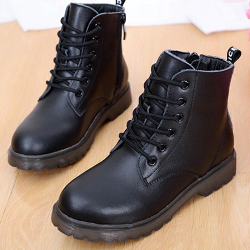 Chaussures enfants moto bottes noires mode hiver enfants garçons bottes filles en cuir bottes en peluche cachemire étudiants chaussures