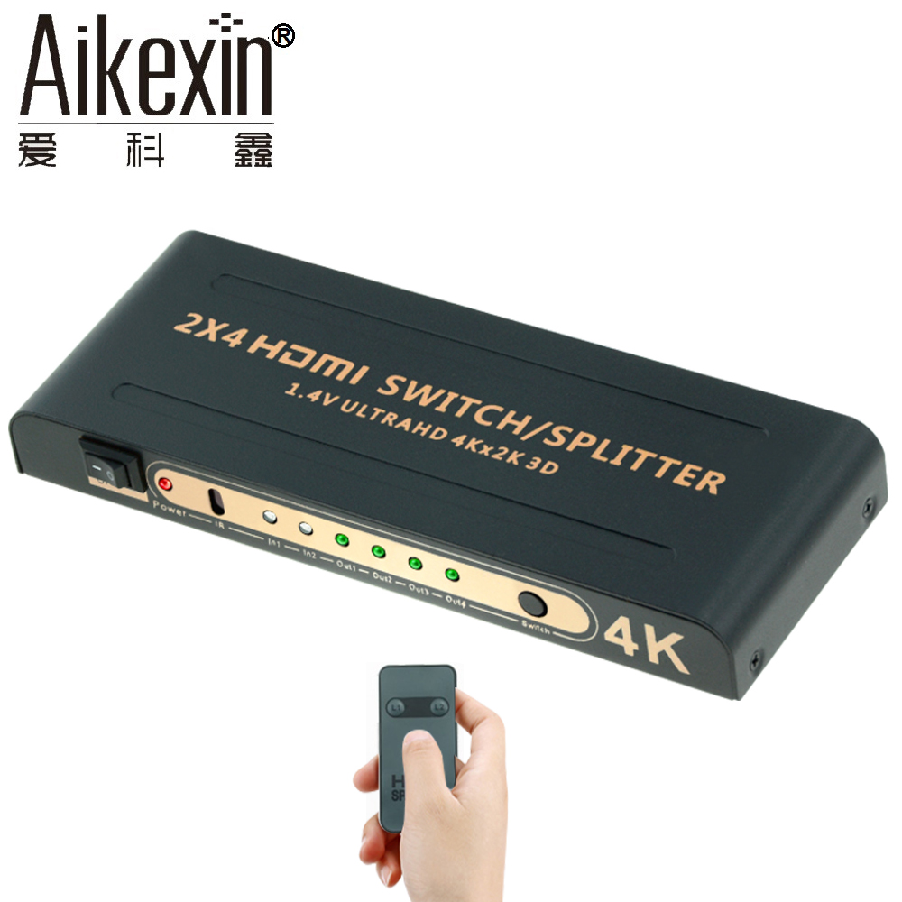 Aikexin 4K HDMI Splitter 2x4 with IR Remote 2 IN 4 OUT HDMI Switch Splitter Support Ultra HD 4K,Full HD 1080P HDMI1.4 Switch hot sale new hdmi 4x1 quad multi viewer screen splitter with seamless switcher ir control operated with the remote
