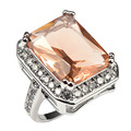 Shiny Morganite With Multi White Simulated Sapphire 925 Sterling Silver Factory price Ring For Women Size 6 7 8 9 10 11 F1481