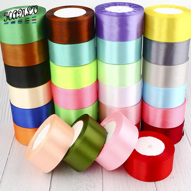 1 Roll (22 meters) 6/10/15/20/25/40/50mm 7 Size Solid Color Satin Ribbons Wedding Party Decorative DIY Crafts Gift Packing