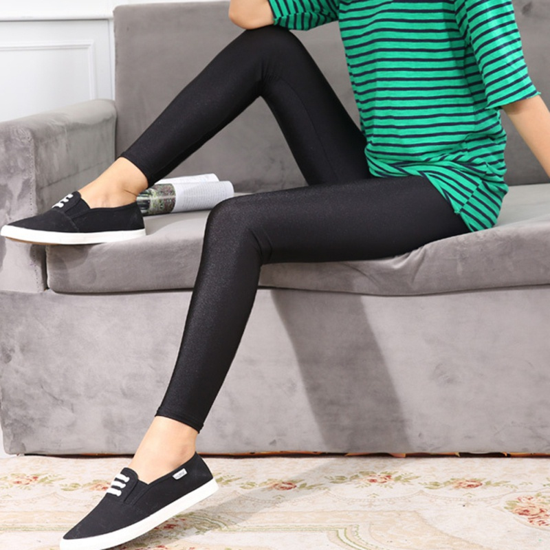 Women Thin Cropped Shiny Stretch Pencil Pants Ankle Length Leggings Fitness Pant