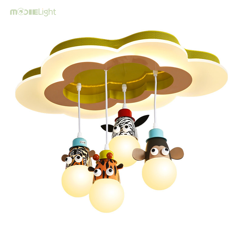 Mooielight Cartoon Animals Style Children Ceiling Lamps Kids Bedroom E27 Ac Remote Controlled Included Room Lamp
