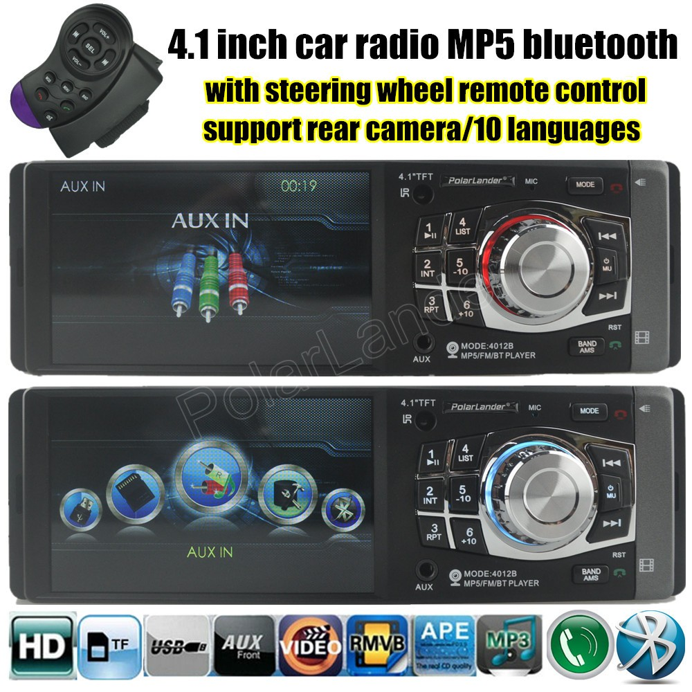 with steering wheel remote control 4.1 inch 1 DIN TFT screen Car radio player MP5 MP4 Support Rear view Camera  video FM/USB/TF