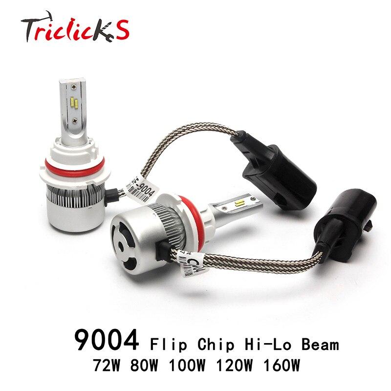 Triclicks 72W 80W 100W 120W 160W Headlights 9004/HB1 Hi/Lo LED Headlight Bulbs Imported Flip Chip Foglight DRL 9004 Head Lights