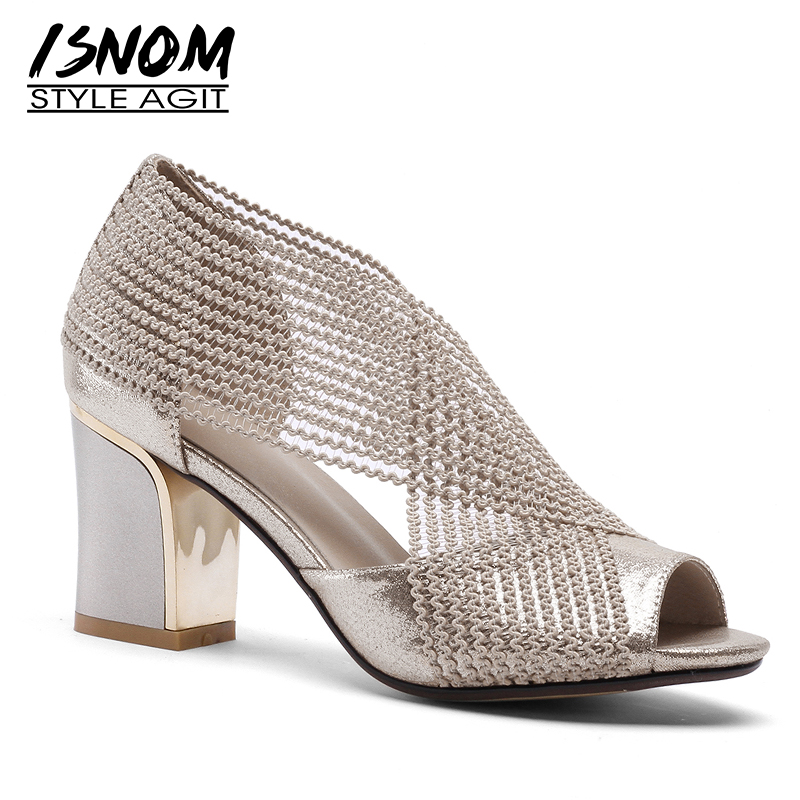 ISNOM 2019 New Summer Sandals Women Cross Tied Peep Toe Footwear Thick High Heels Sandals Shoes