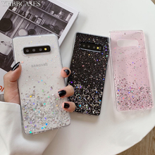 YHBBCASES For Samsung Galaxy S11 Plus S10 S9 Glitter Colorful Sequins Clear Soft Cover For Samsung Note 10 8 9 Silver Foil Cases