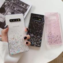 YHBBCASES funda blanda transparente con lentejuelas para Samsung Galaxy S11 Plus S10 S9, carcasa de papel plateado brillante para Samsung Note 10 8 9