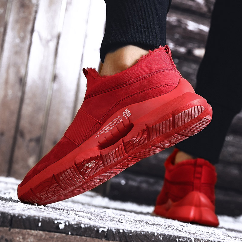 Warm Winter Mens Casual PU Leather Shoes with fur Low-Cut Large Size 39-47 Slip on Comfortable Men Shoes with Short Plush Red 4