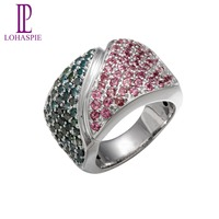 Lohaspie Natural Pink Tourmaline Blue Diamond Solid 14K White Gold Wedding Band Rings Vintage Fine Jewelry