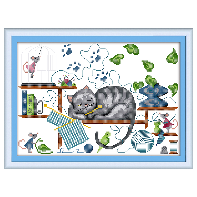 DIY hand embroidery cross stitch suit embroidery set printing mouse and cat pattern 43 * 33cm home decoration